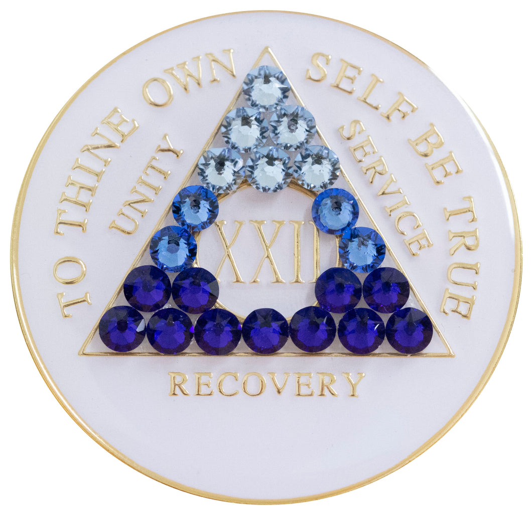 blue transition bling crystallized white triplate medallion
