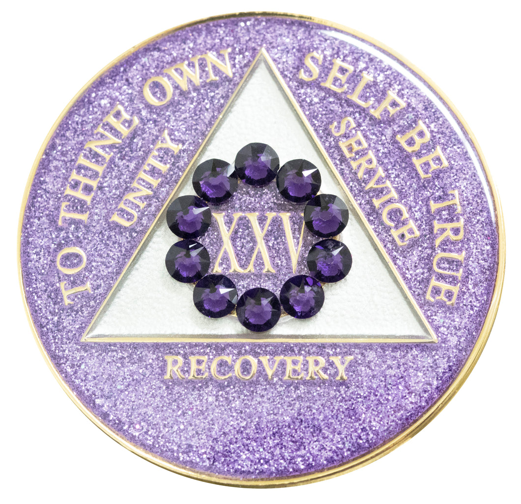 unity glitter purple crystallized medallion