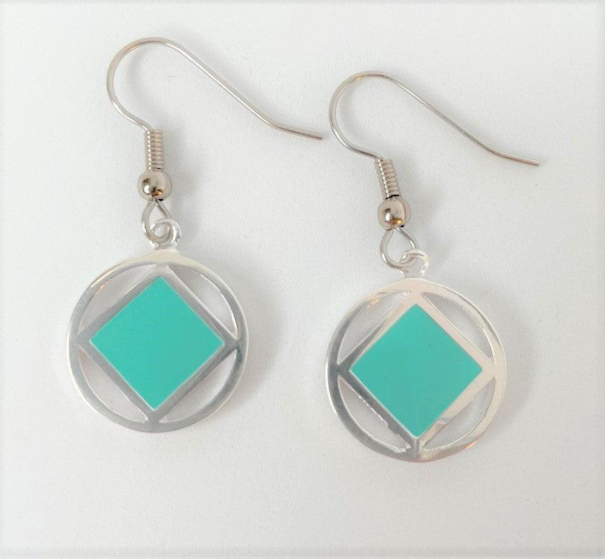 sterling silver earrings, narcotics anonymous symbol square with turquoise inlay inside a circle