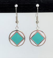 Load image into Gallery viewer, sterling silver earrings, narcotics anonymous symbol square with turquoise inlay inside a circle