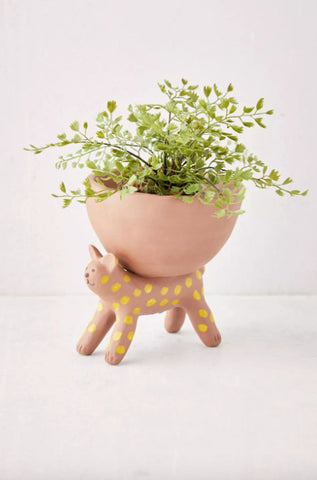 Urban Outfitters Orange Spotted Standing Cat Planter