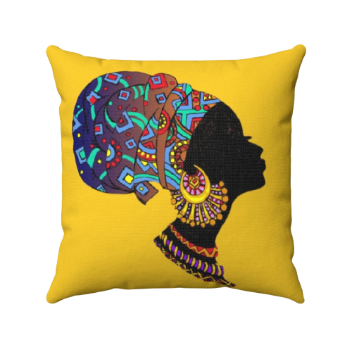 Colorful African Throw Pillow TIJE-Front-View