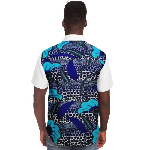 African Blue Shirt TOBA-Back-View