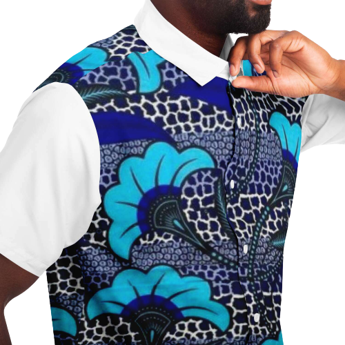 African Blue Shirt TOBA-Closed-View
