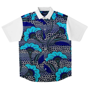 African Blue Shirt TOBA-Flat-View
