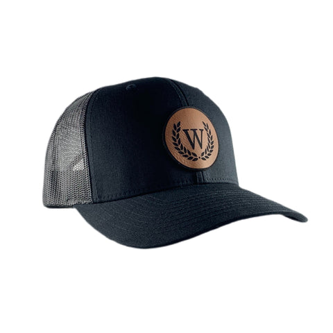 "WINNERS ""W"" Leather Patch Cap - Black / Brown"