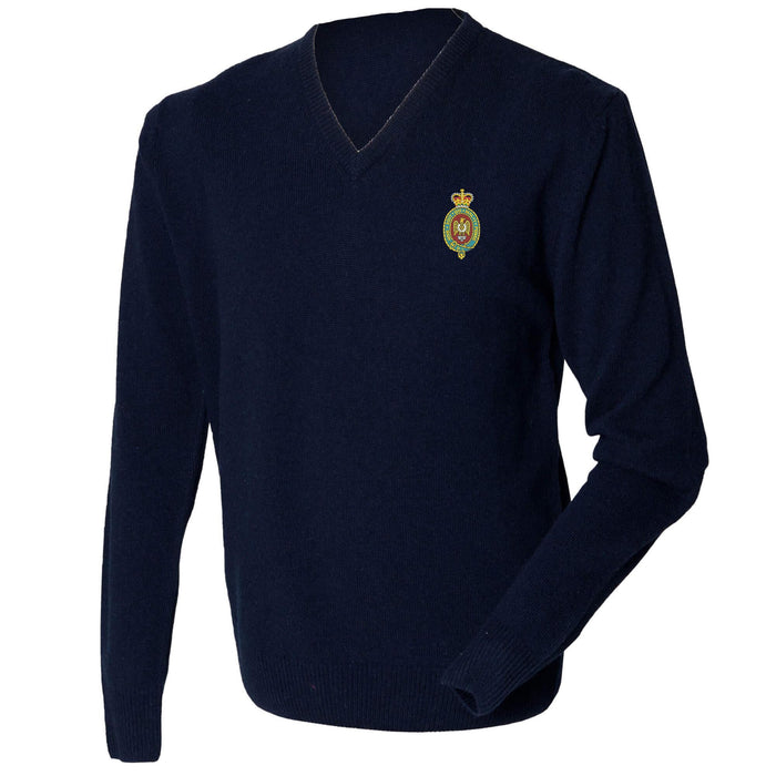 Blues and Royals Lambswool V-Neck Jumper