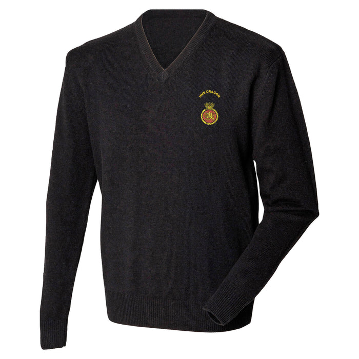 HMS Dragon Lambswool V-Neck Jumper