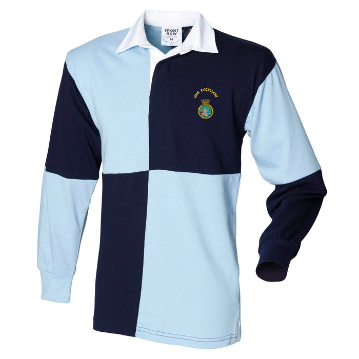 HMS Excellent Long Sleeve Quartered Rugby Shirt