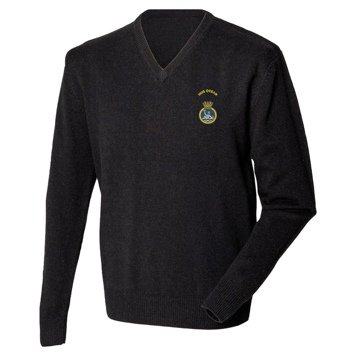 HMS Ocean Lambswool V-Neck Jumper