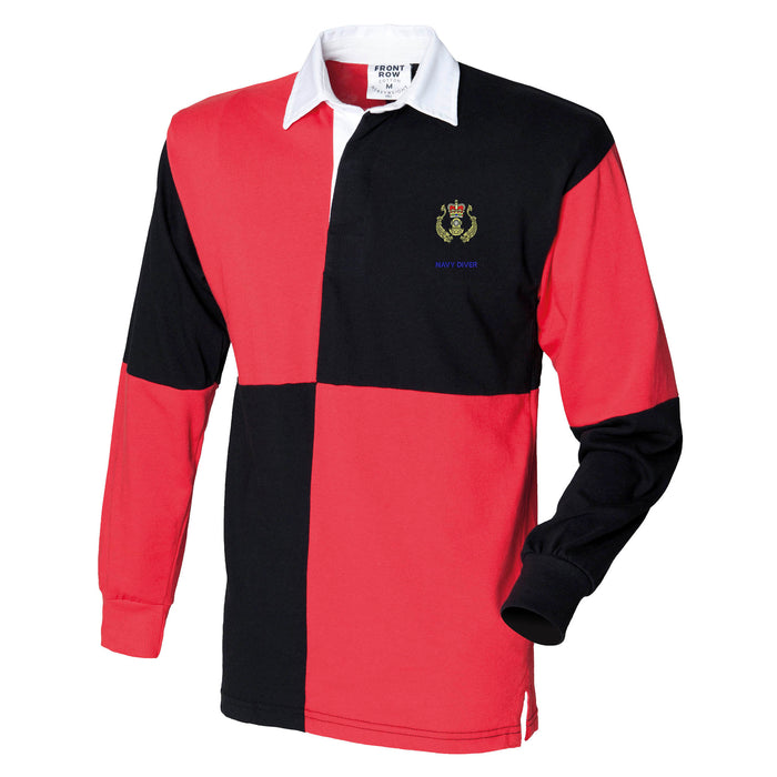Navy Diver Long Sleeve Quartered Rugby Shirt