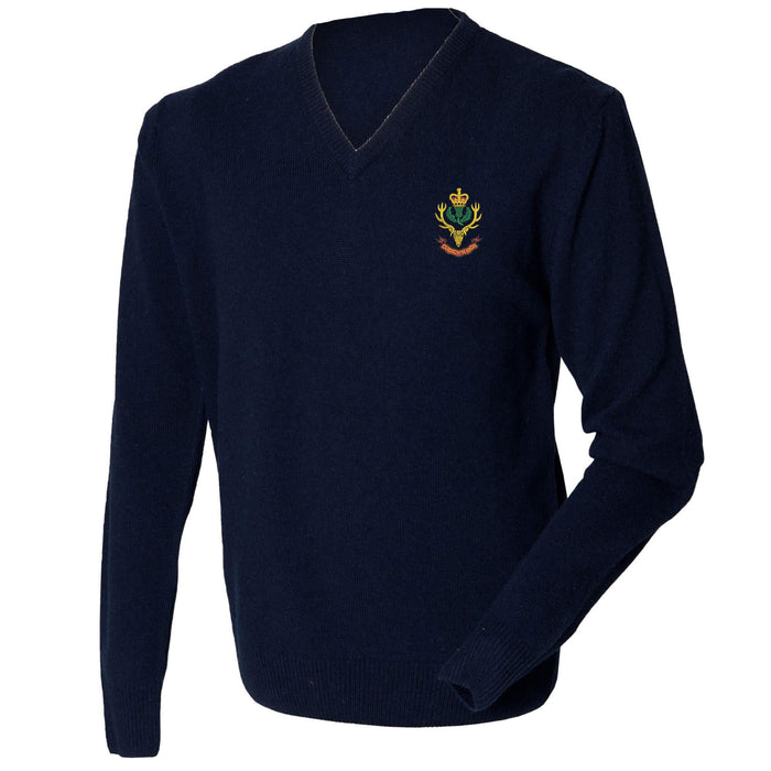 Queens Own Highlanders Lambswool V-Neck Jumper