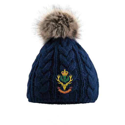 Queens Own Highlanders Pom Pom Beanie Hat
