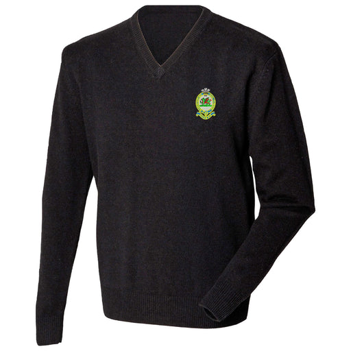 Queens Regiment Lambswool V-Neck Jumper