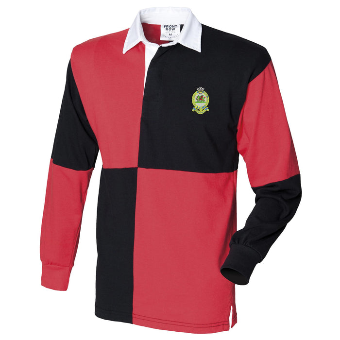 Queens Regiment Long Sleeve Quartered Rugby Shirt