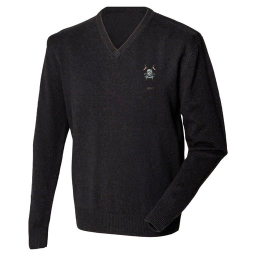 Queens Royal Lancers Lambswool V-Neck Jumper