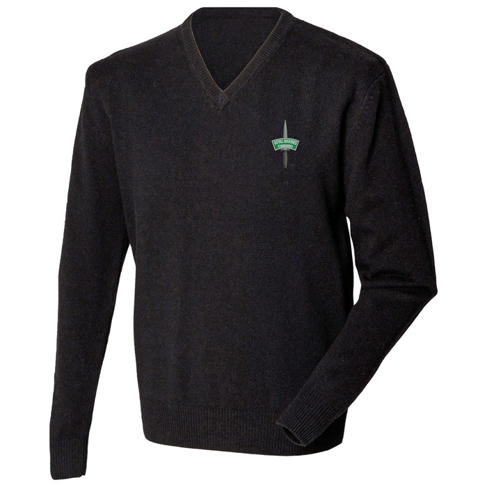 Royal Marines Commando Lambswool V-Neck Jumper