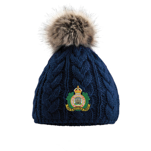 Suffolk Regiment Pom Pom Beanie Hat