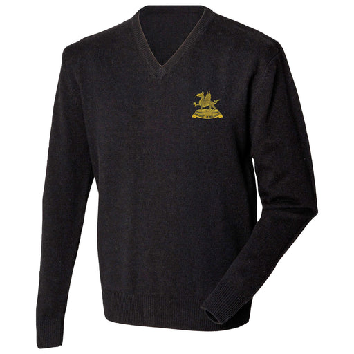 Wales Universities Officers Training Corps Lambswool V-Neck Jumper