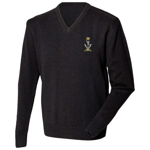 Queen's Gurkha Signals Lambswool V-Neck Jumper