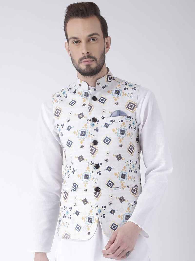 Multicoloured Blended Printed Nehru Jackets