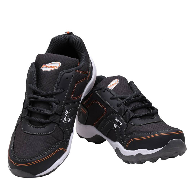 Dark Gray Orange Lace Up Running Shoes