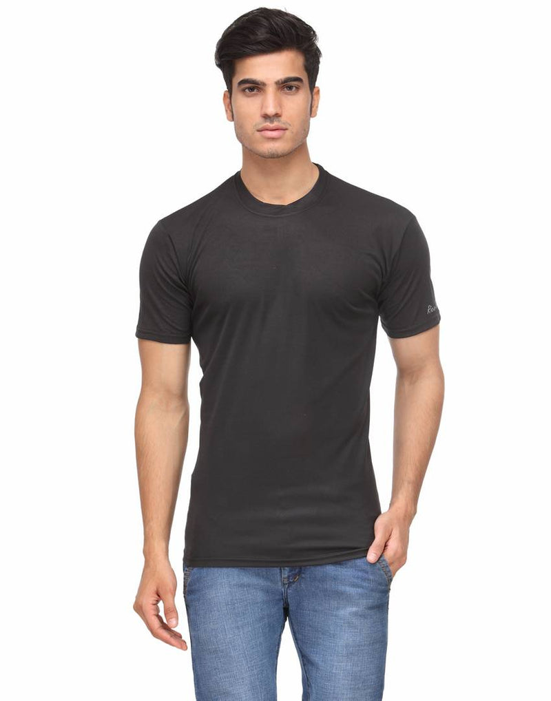 Men's Black Solid Polyester Round Neck T-Shirt
