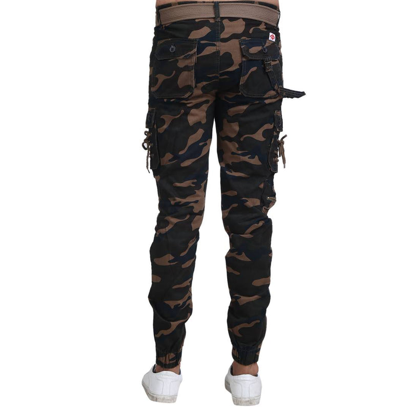 Men's Multicoloured Cotton Blend Printed Regular Fit Cargo