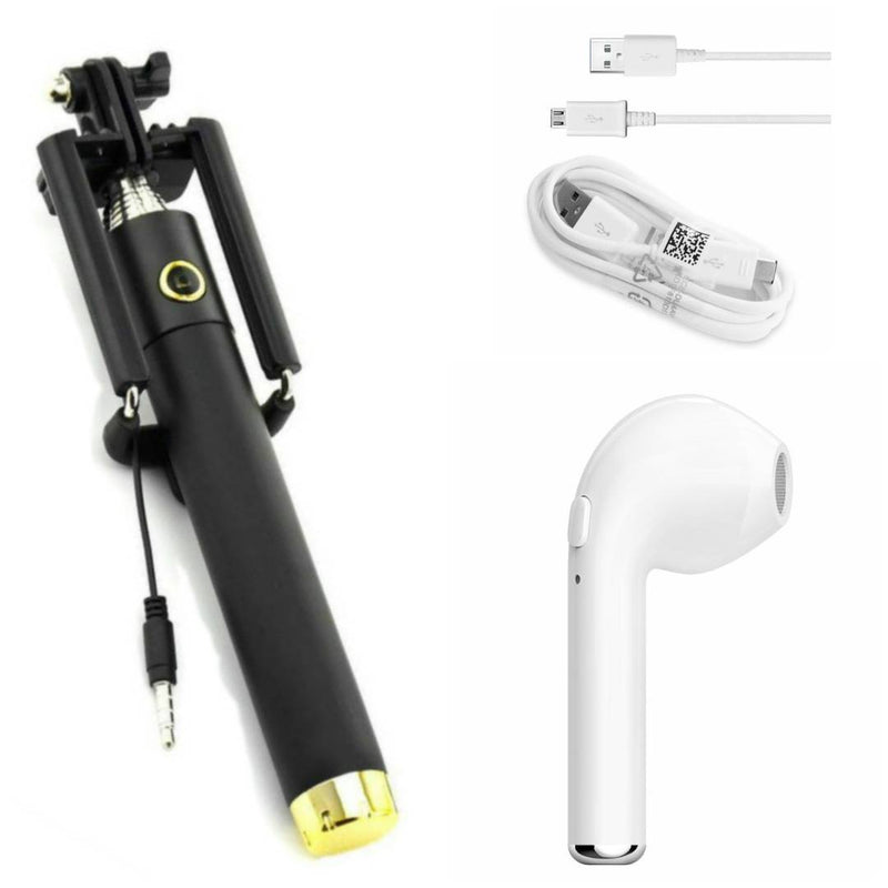 Combo Of Black Selfie Stick, I7 Single Bluetooth & Data Cable