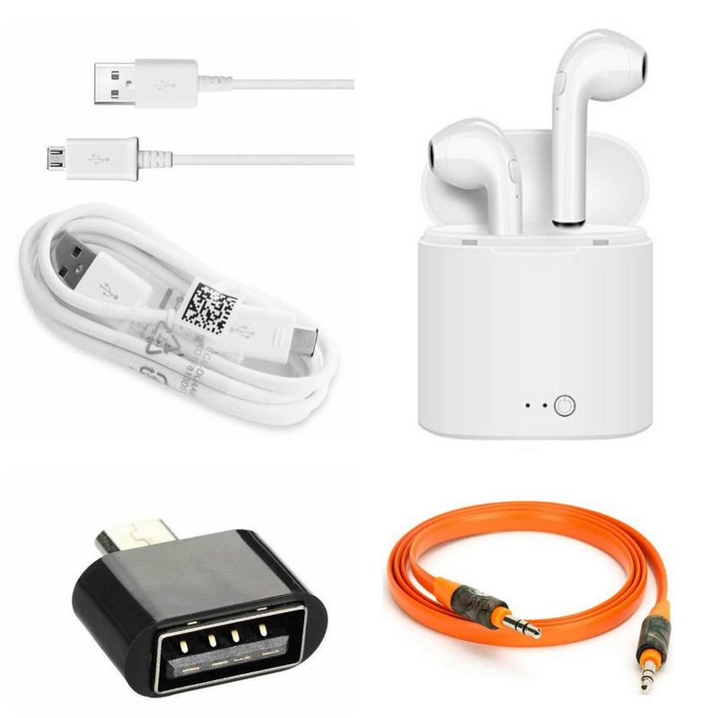 Combo Of Aux Cable, OTG, Double Bluetooth & Data Cable