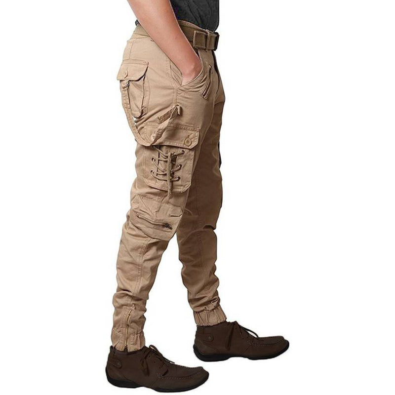 Men's Golden Cotton Blend Mid-Rise Solid Regular Fit Cargo
