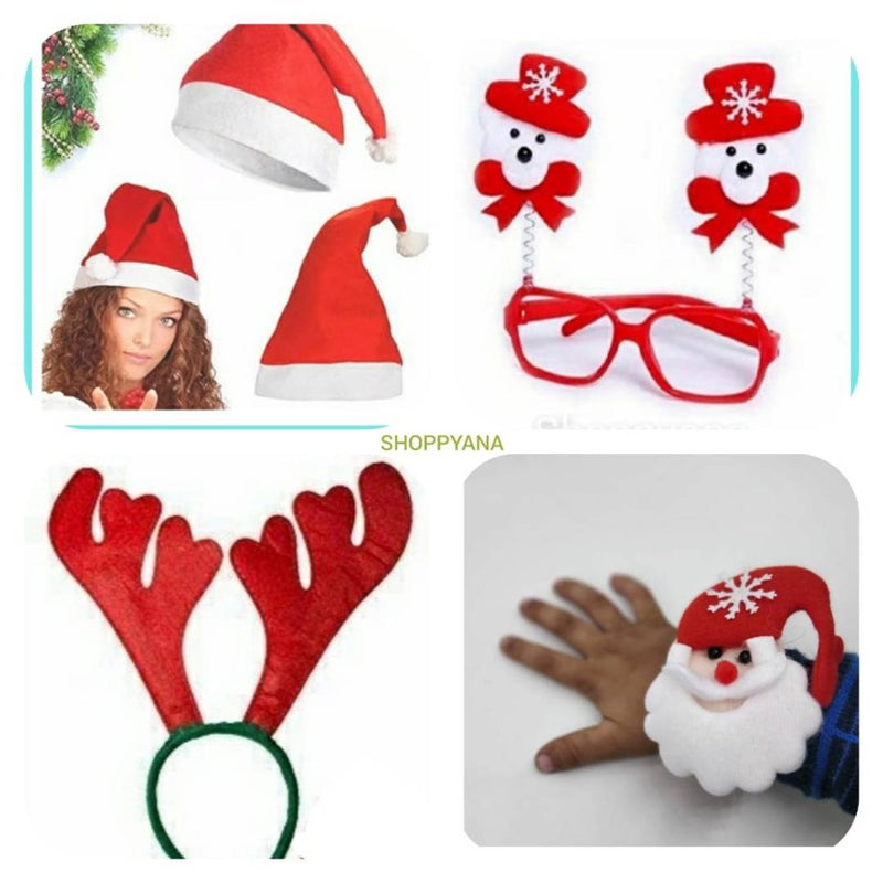 Shoppyana christmas Combo of 1 dear hairband, 1 Santa Cap, 1 Santa Wrist Band, 1 bow goggle