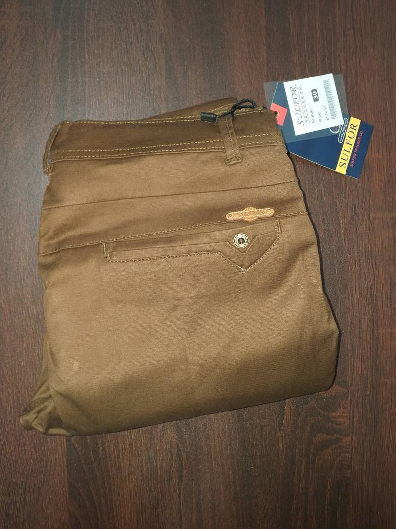 Men's Khaki Cotton Blend Solid Mid-Rise Slim Fit Regular Casual Trouser