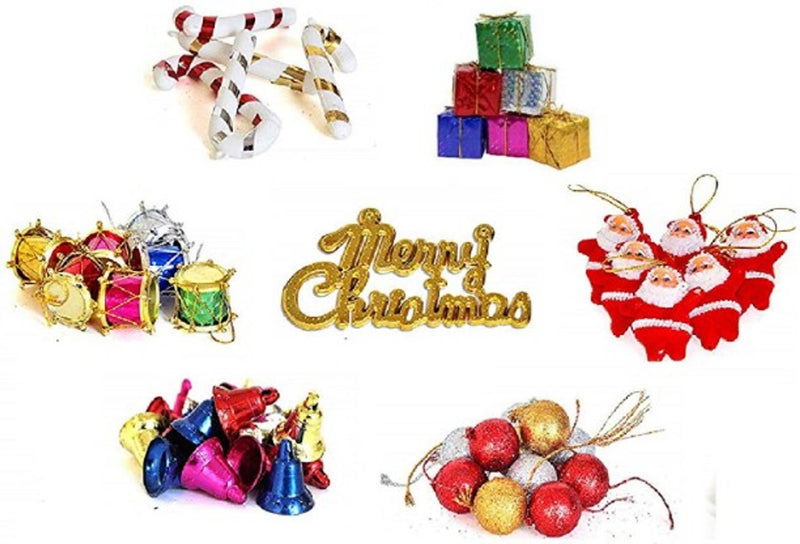 Shoppyana 20 pcs Mini/Small Christmas Tree Decorations (2 Santa 4 ball 4 bell 2 candy stick 2 drum 4 gift 2 merry Christmas)