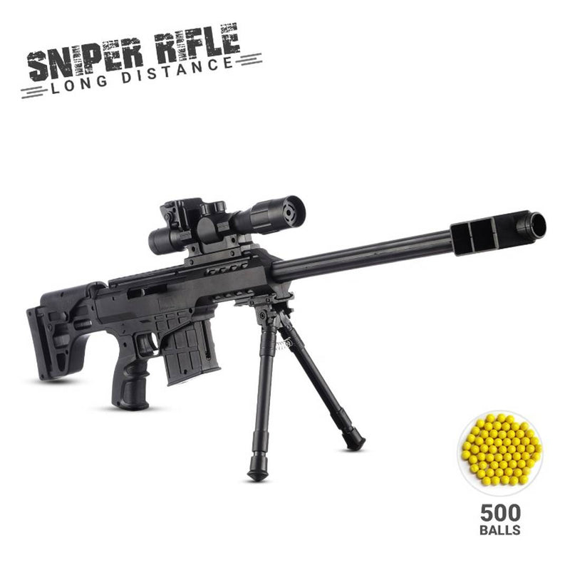 NHR Gun Toys Set Sniper Gun with 500 BB Bullets , Plastic Target Long Range Shooting Gun for Kids,Black