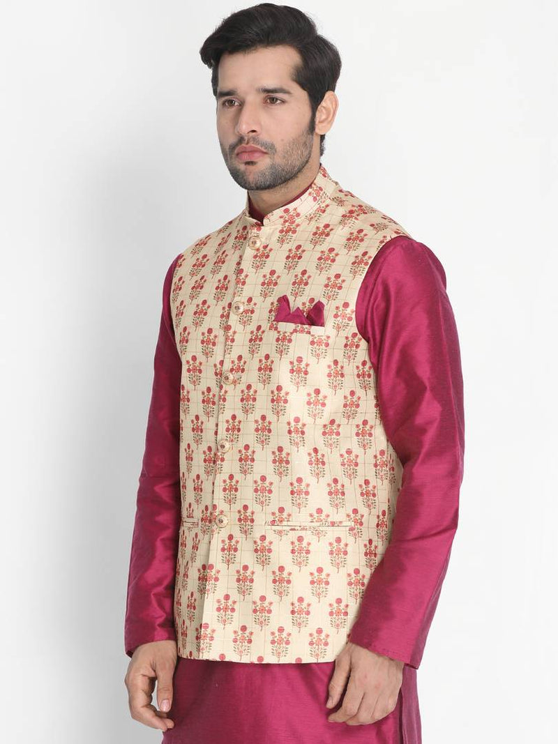 Vastramay Men's Golden Silk Blend  Ethnic Jackets