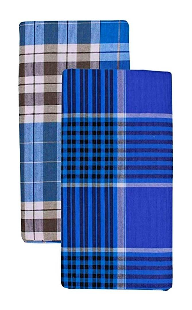 Men Multicoloured Cotton Striped Without Pocket Lungis Pack Of 2