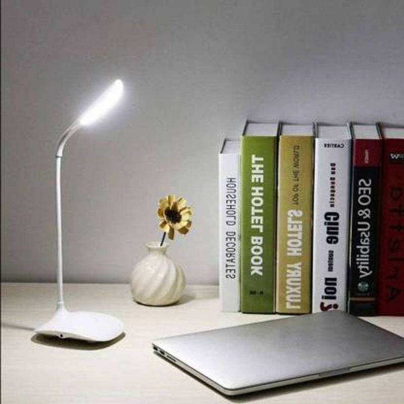 Rechargeable LED Touch On/Off Switch Desk Lamp Children Eye Protection Student Study Reading Dimmer Rechargeable Led Table Lamps USB Charging Touch Dimmer Table Lamp  (30 cm, White)(Pack of 1)