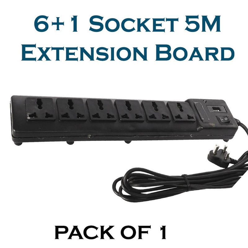 Xclusive Plus Wired Extension Board With 5 Metre Length & 7 Sockets Black