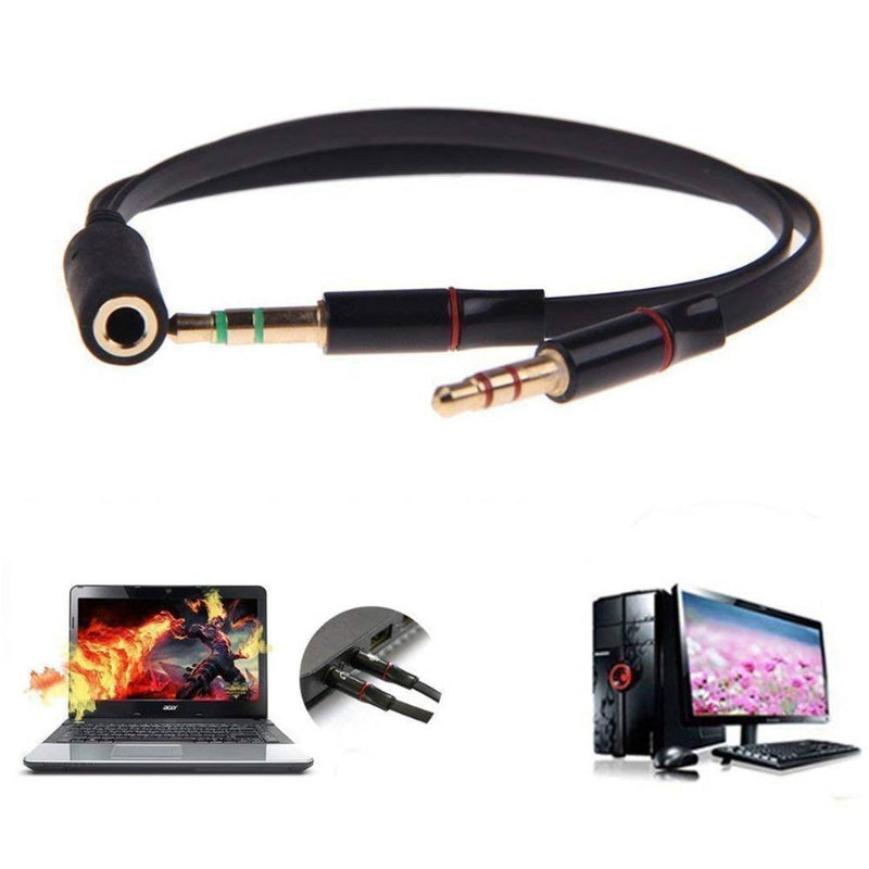 NAVYA Gold Plated 2 Male to 1 Female 3.5mm Headphone Earphone Mic Audio Y Splitter Cable Cord Wire for PC Laptop - Black