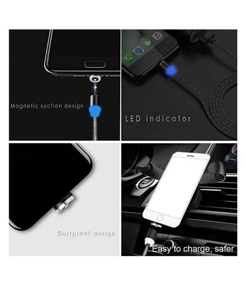 SelfieSeven CC Magnetic Charging Cable ,-01 Piece/multi charger cable/Ampere of cable: 2.4A - Black