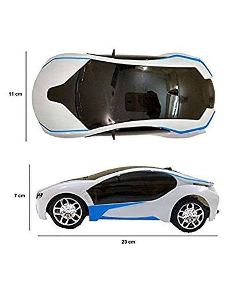 Single Remote Control 3D Lights Toy Car, Fully Functional for Kids Order Color may Vary- Multicolored