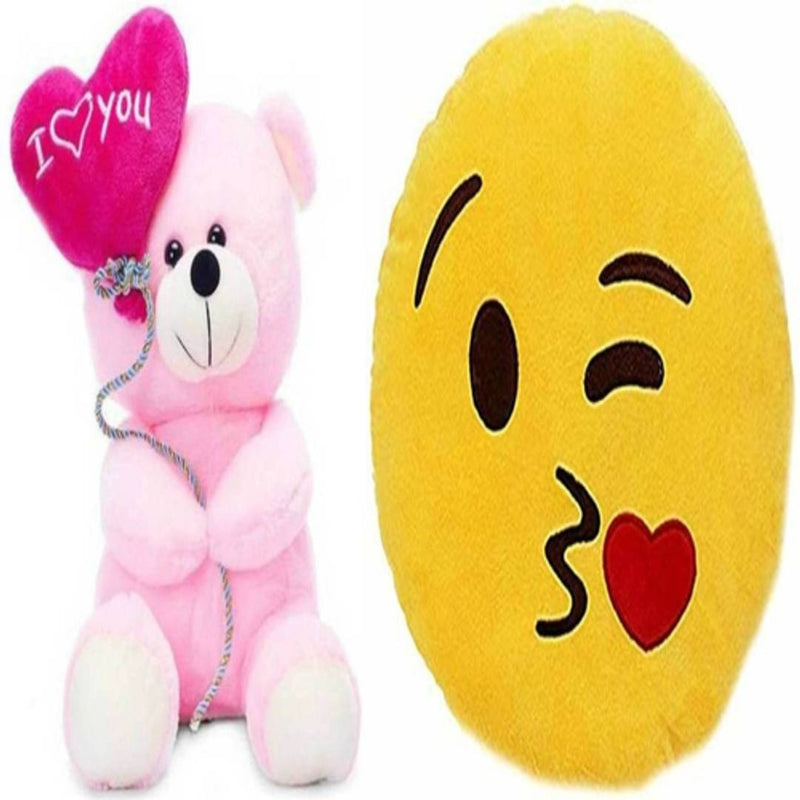 Gift Basket Stuffed Soft Toy Combo Of Balloon Teddy With Flying Kiss Smiley