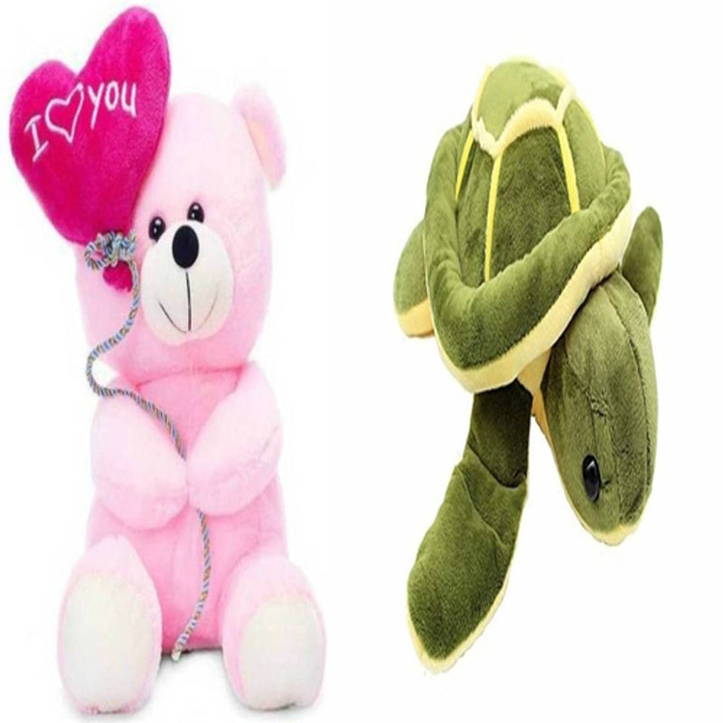 Gift Basket Stuffed Soft Toy Combo Of Balloon Teddy With Tortoise
