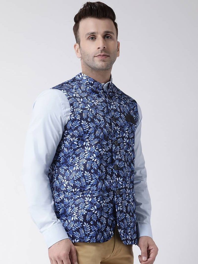 Elite Blue Polyester Viscose Printed Ethnic Waistcoat For Men