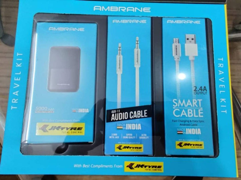 Ambrane Travel Kit | 5000mAh Power Bank | 3.5mm Metal Jack Aux Cable | 2.4A Output Fast Charging and Data Sync Android Cable