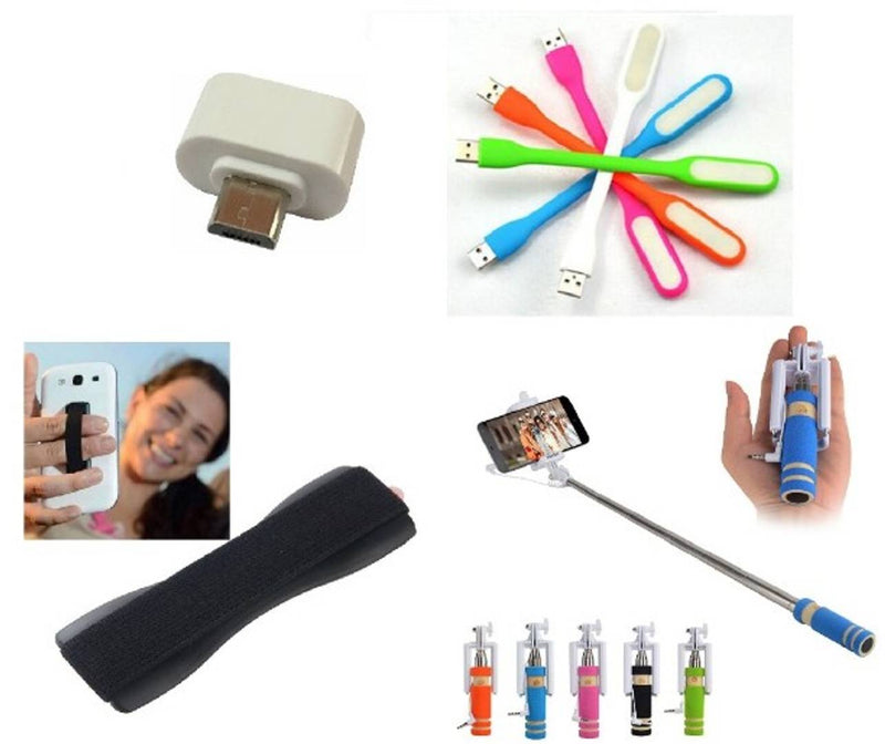Combo of Selfie Stick, Finger Grip, USB LED Light and OTG Adopter (Assorted Colors)