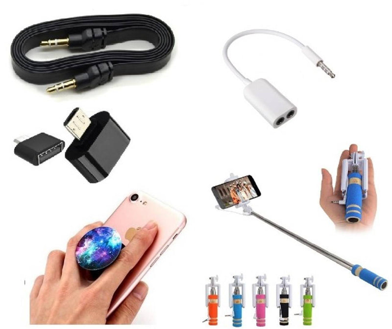 Combo of Selfie Stick, Popup Socket, Aux Cable, Splitter and OTG Adopter (Assorted Colors)