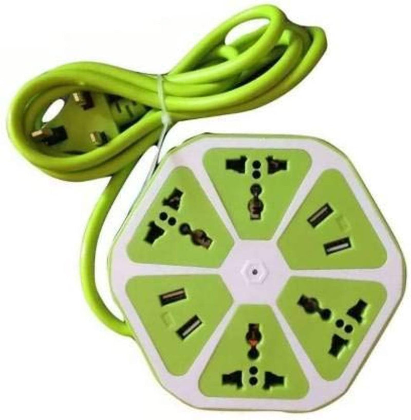 Hexagon Socket 6 Socket Extension Boards(GREEN) Everyday use for Computer, Kitchen appliances, Office, Study Room etc
