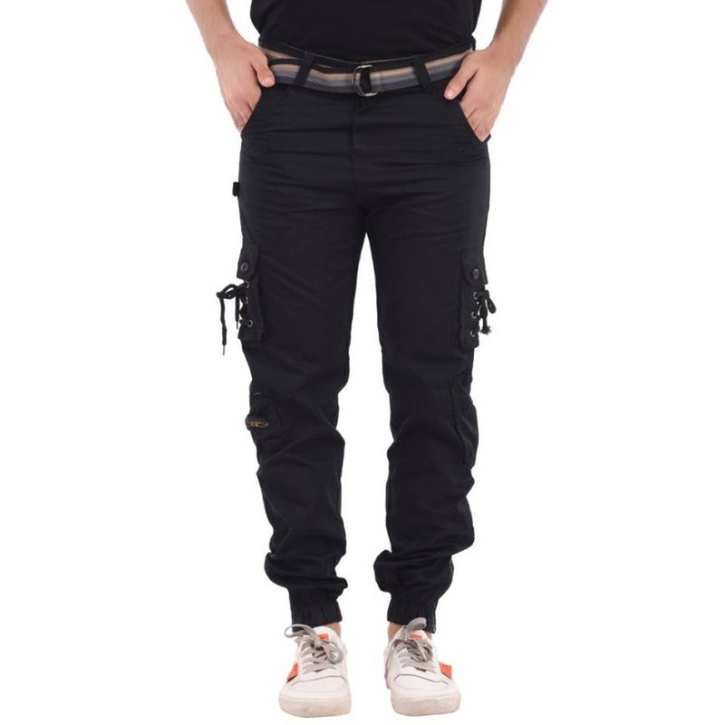 Elite Black Cotton Solid Cargo For Men
